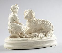 VICTORIAN PARIAN WARE YOUNG GIRL & DOG FIGURE MINTON COPELAND