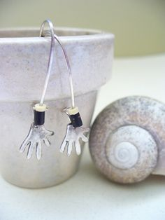 Lots of gifts on sale at my shop, come and stop by Silver Hand Shell Earrings Silver Tribal Boho Sale by kzannoart, $12.00