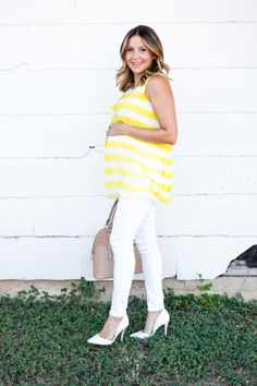 yellow & white stripe #maternitytop #danielrainn