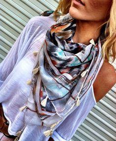 Ikat print tassel scarf by Three Bird Nest.