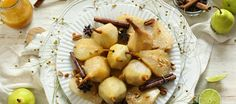 Light, sweet and summery, this dessert is a total crowd pleaser. It's not only visually appealing, but also deliciously satisfying. Sarah Graham, Poached Pears, Skewers, Spices, Lovers, Vegetables, Cooking, Sweet, Desserts