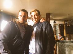 """""""Me and the man himself.."""" - Danny Miller & Ryan Hawley - Tweeted by Danny Miller 11:55 AM - 21 Jul 2015 - filming on location at Hirst's Yard in Leeds"""