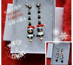 Penguin Pearl Winter Earrings, Santa's Hat #Penguin #Earrings, #Winter #Christmas Earrings, #StockingStuffer or Gift for Teen, Mom, BFF by #OsbornJewelryGaias on #Etsy