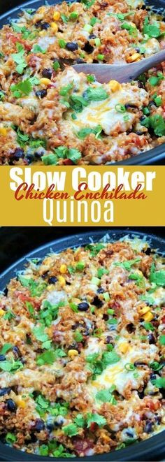 This easy Slow Cooker Chicken Enchilada Quinoa recipe is simple, healthy, and fu. - Yummies - This easy Slow Cooker Chicken Enchilada Quinoa recipe is simple, healthy, and fu. Crock Pot Recipes, Cooker Recipes, Chicken Recipes, Crockpot Chicken Healthy, Crockpot Quinoa, Crockpot Dishes, Chicken Flavors, Meatball Recipes, Healthy Recipes