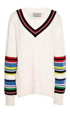 Striped Blythe V-Neck Sweater by Preen by Thornton Bregazzi Now Available on Moda Operandi