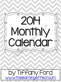 2014 Black and White Chevron Monthly Calendars - FREE from The Learning Effect on TeachersNotebook.com -  (12 pages)