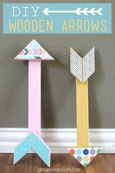 DIY Wooden Arrows at GingerSnapCrafts.com #arrows #tutorial