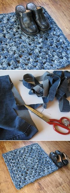How to Turn Old Jeans into a Bath Mat -- crochet 'denim yarn' from recycled jeans. Jean Crafts, Denim Crafts, Diy Bath Mats, Tapetes Diy, Sewing Crafts, Sewing Projects, Denim Rug, Denim Ideas, Crochet Yarn
