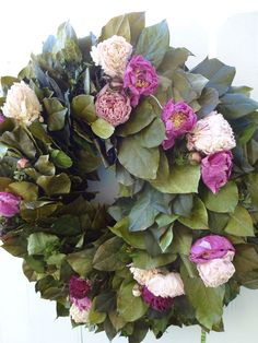 Peony Wreath  Preserved Salal Wreath   Peony Wreath  Elegant Wreath  Home Decor  Hand Crafted Wreath  Front Door Wreath by donnahubbard on Etsy