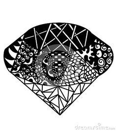 Vector brilliant black and white . Hand drawn  illustration.
