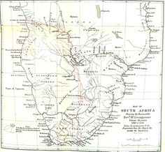 Map of Livingstone's routes through Africa from 'Dr Livingstone's Cambridge Lectures' (1860)