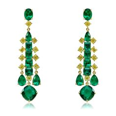 Sutra earrings with Colombian emeralds and canary yellow diamonds in yellow gold.