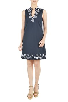 I <3 this Graphic embellished poplin shift dress from eShakti