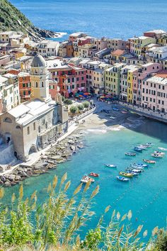 Vernazza, Cinque Terre, Italy - These colors make us dream of the fictional island Castellamare in Catherine Banner's upcoming novel, THE HOUSE AT THE EDGE OF NIGHT out 7/12/16!