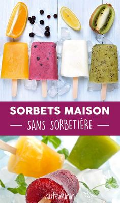 How to make your own sorbets without sorbtière? Our recipes and tips frozen … Sorbet Ice Cream, Vegan Ice Cream, Raw Food Recipes, Sweet Recipes, Dessert Recipes, Fruit Lollies, Delicious Desserts, Yummy Food, Sorbets