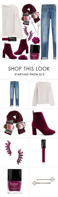 """Winter Fringe"" by tropicalcraze ❤ liked on Polyvore featuring rag & bone, Helmut Lang, BCBGMAXAZRIA, Raye, Noir Jewelry, NARS Cosmetics, Butter London, H&M, Carolee and scarf"