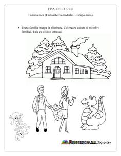 FISE de LUCRU pentru copiii de gradinita cu tema FAMILIA MEA | Fise de lucru - gradinita Numbers Preschool, Kindergarten Worksheets, Youth Activities, Kids Playing, Children, Crafts, Armin, Google, Decor
