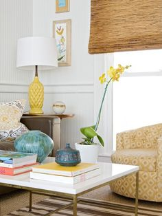 yellow lamp. art work, coffee table styline... inspires me in many many ways