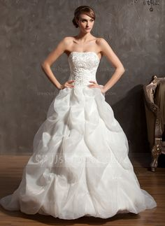 $217 - Ball-Gown Sweetheart Chapel Train Organza Satin Wedding Dress With Embroidery Beadwork (002014946) - JJsHouse