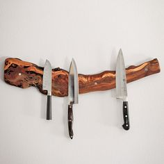 We love these. Talk about a unique item for your kitchen, these authentic old vine knife racks are handmade from a grape vine from a private family that has been producing wine in Napa for over 100 years. Its a unique opportunity to bring a touch of Californias wine country to your kitchen. You can clearly see a century of character in this beautiful piece of wood. Each vine rack is embedded with 6 extra strong magnets for holding knife collection. Even your largest knife will remain…