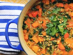 A quick and easy stew of butternut squash, kale, and toasted quinoa, made in a single skillet.