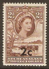 Bechuanaland 1961 2c on 2d Red-brown. SG158.