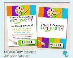DIY Editable Art Party Invitation by The Digi Dame $10AUD Add your own text!