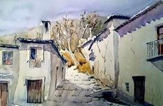 Rincón antiguo de Cáñar #Alpujarra #Granada Pintura de Manuel A. Rodriguez Alvarez
