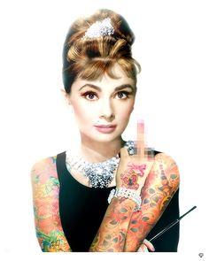 Audrey Hepburn Tattoo Colour now available at www.imagesinframes.com #tattoo #art #jjadams