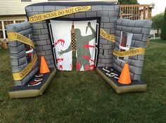 airblown inflatable crime scene lightshow archway halloween yard decoration - Halloween Inflatable Yard Decorations