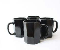 SALE 4 Arcoroc Octime Mugs, Four Black Coffee Cups, Octagon Geometric Shape, Discontinued Dinnerware, Vintage, 1980's, Made In France - pinned by pin4etsy.com