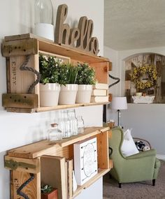 DIY wood crate wall shelves. Rustic farmhouse style home decor by Kari