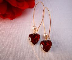Vintage Heart Earrings, Garnet Red Earrings