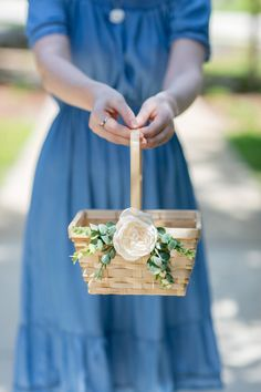 Help your favorite flower girl toss petals in style thanks to this roundup of the absolute cutest flower girl baskets on Etsy! Rustic Flower Girls, Rustic Flowers, Elegant Flowers, Engagement Decorations, Wedding Decorations, Bamboo Basket, Flower Girl Basket, Basket Decoration, Flower Petals