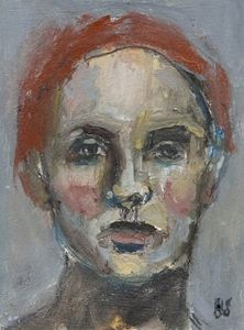 Image of Small Painted Portrait  - Francine