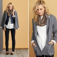 Try a slouchy blazer layered with a denim vest or jacket to get a feminine yet tailored look.