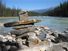 An Inukshuk in Jasper National Park, Alberta, Canada - for Very Last First Time by Jan Andrews Jasper National Park, National Parks, Homer Alaska, What Dreams May Come, Canada Eh, Rock Of Ages, Nature Water, Ancient Art, Oh The Places You'll Go