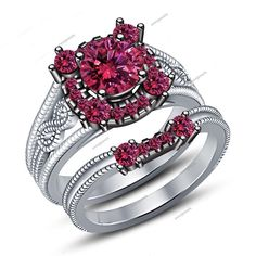 Round Pink Sapphire 1.50 CT Prong Setting 14K White Gold Fn in Bridal Ring Set #aonejewels