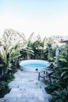Byron Bay Wedding & Travel Guide - The Lane Tropical Pool Landscaping, Tropical Garden Design, Small Backyard Pools, Swimming Pools Backyard, Garden Pool, Backyard Patio, Backyard Landscaping, Bungalow, Byron Bay Weddings