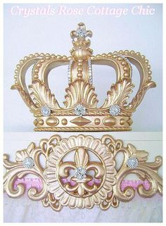 Golden Glam Bed Crown Canopy Teester Vintage Hollywood Look Princess Party Dessert Table Decor/Baby Girl Nursery, Girl Room, Nursery Room, Bed Crown Canopy, Prince Nursery, Muebles Shabby Chic, Crown Decor, Dessert Table Decor, Rose Cottage
