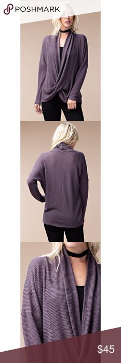 •Buy 2 Get 1 Free• Two Toned Wrap Cardigan -Purple Love this two tone wrap cardigan that's lightweight but still adds coverage and warmth. Features a cowl-neck, draped faux wrap front, love sleeves and relaxed silhouette. 58% Rayon 39% Polyester 3% Spandex. Also available in Black/Gray . . . If you would like to make an offer, please use the OFFER BUTTON. {10% discount on all 2+ orders} . . FOLLOW US✌️ Insta : shop.likenarly Facebook: likenarly Website : likeNarly.com likeNarly Tops