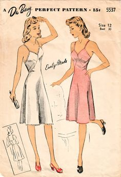 Du Barry 5537 Vintage Sewing Pattern Misses Slip, Fitted Slip Full Slip, Day Slip Size 12 Bust 30 Retro Pattern, Vintage Sewing Patterns, Clothing Patterns, Pattern Sewing, Vintage 1950s Dresses, Vintage Outfits, Vintage Clothing, 1940s Fashion, Vintage Fashion