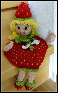 Fanny Colorful World: Crochet Strawberry Girl Moss Stitch, Seed Stitch, Crochet Strawberry, Lining Fabric, Christmas Baby, Amigurumi Doll, Crochet Animals, Knitting Stitches, Crochet Dolls