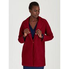 Drop Shoulder Coat Dark Red
