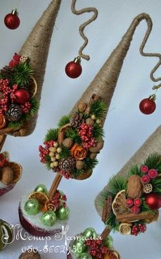 Christmas Holiday paper mache Cone Yarn Trees with berry, holly, frosted branch garland, tabletop ho Cone Christmas Trees, Xmas Ornaments, Christmas Wreaths, Christmas Decorations, Rustic Christmas, Christmas Art, Christmas Projects, Christmas Holidays, Miniature Christmas
