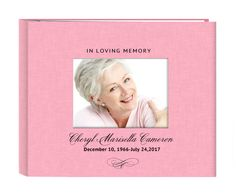 Pretty in pink linen cover with photo window in loving memory guest sign-in registry book, includes 3 lines of personalized text accented by elegant flourish.