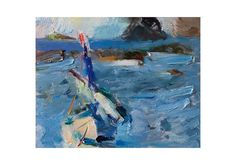 Waves and a Boat  Original Plein Air Oil by AnnaFineArtStudio