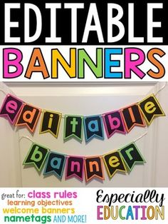 These editable banners are the perfect way to brighten up any classroom! Print these black and white pennants on colored paper and use them to display your name, learning objectives, welcome sign, and more! Now with 5 sizes of pennants! 2nd Grade Classroom, Classroom Setup, Classroom Design, Classroom Displays, Kindergarten Classroom, Future Classroom, Classroom Organization, Neon Classroom Decor, Classroom Hacks