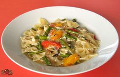Recipe - Bow Tie Pasta with Roasted Asparagus and Peppers | SOS Cuisine
