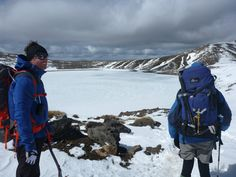 Richard and Nige looking at a frozen Blue Lake